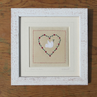 Dove with Love framed hand-stitched textile