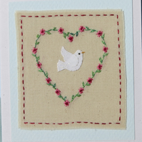 Hand embroidered miniature on card 'Dove with Love'