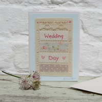 Wedding Day hand-stitched card