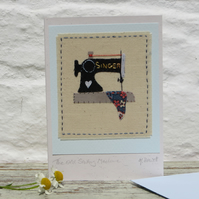The Old Sewing Machine hand-stitched card
