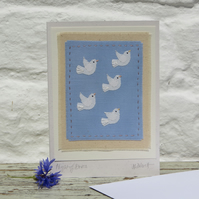 Flight of Doves hand-stitched miniature applique - a card to keep!
