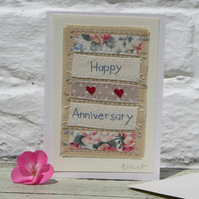 Hand-stitched anniversary card