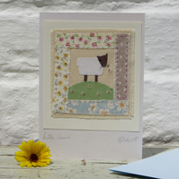 Little Lamb hand-stitched card for early years birthday or Easter