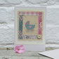 Little pram embroidery on card to welcome a new baby girl