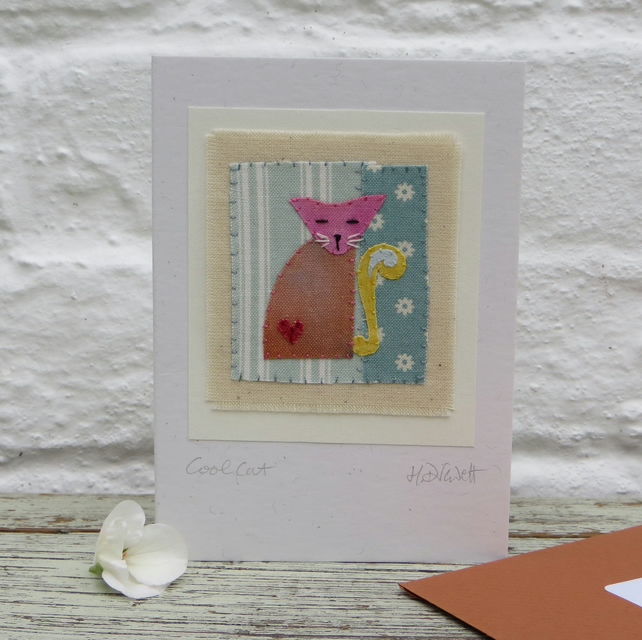 Hand-stitched miniature cat applique on card