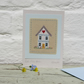 Hand-stitched miniature 'Little White House' on card, new home?