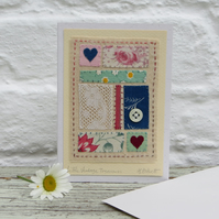 Vintage fabrics hand-stitched miniature on card - a unique gift to keep.