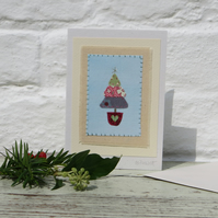Little Tree, hand-stitched miniature textile on card with gold star at the top