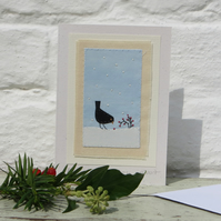 Blackbird with Winter Berries hand-stitched card for any winter occasion!