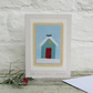 Sweet little hand-stitched shed in snow Christmas card