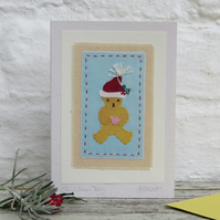 First Christmas! Handstitched miniature with embroidered details, a card to keep