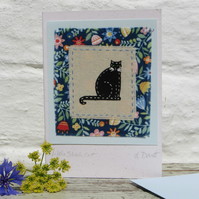 Little Black Cat hand-stitched miniature on card - good luck!