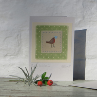 Little Polka Dot Robin hand-stitched miniature for someone special!
