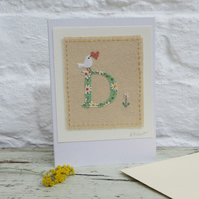Letter D Alphabet card, new baby, Christening, birthday for someone special!