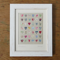 'Lots of Love' miniature applique framed hand-stitched textile, detailed, pretty