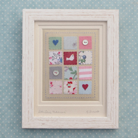 Little Dove Patchwork framed hand-stitched textile made with vintage fabrics