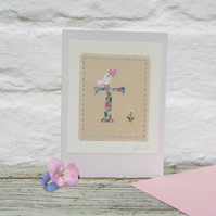 Sweet little hand-stitched letter T - new baby, birthday or Christening