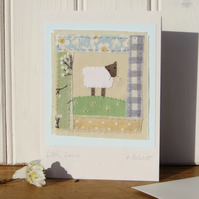 Sweet Little Lamb hand-stitched miniature applique - a gift as well as a card!