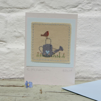 The Old Watering Can hand-stitched card - perfect for a gardener!