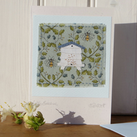 Little Beehive hand-stitched card with finely worked details pretty bee fabric