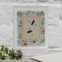 Bees! Hand-stitched miniature textile on card, full of the joys of Spring!