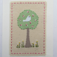 Blossom Time delicately hand stitched card for any Springtime celebration!