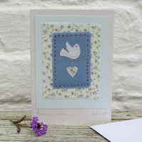 Peace and Love hand-stitched miniature textile on card - new baby?