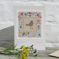 Little Bird hand-stitched miniature textile on card for birthday or, any day!