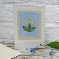 Little Primroses hand-stitched card hand-dyed fabrics delicate and very pretty