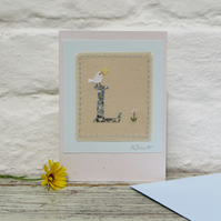 Sweet little hand-stitched letter L, New Baby, Christening or Birthday