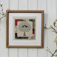 Framed embroidery 'Tree of Life' finely hand-stitched original work