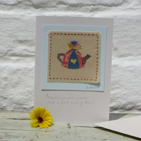 Hand stitched mini applique teapot with written wording to celebrate friendship