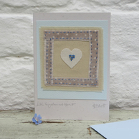 Forget-me-nots hand-stitched miniature with heart - a gift as well as a card!