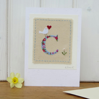Sweet little letter C card hand-stitched, new baby, Christening or 1st birthday