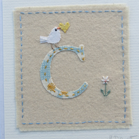 Sweet little hand-stitched letter C  new baby, birthday or Christening