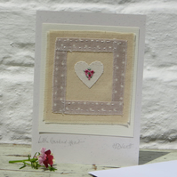 Little Rosebud Heart hand-stitched card for someone special, young or old!