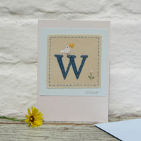 Sweet little hand-stitched letter W - new baby, birthday or Christening