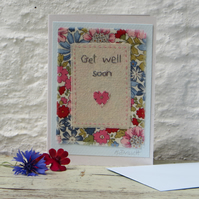 Pretty hand-stitched card with cheerful flower print fabric