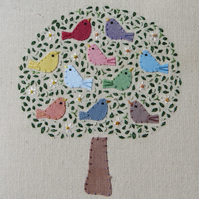 The Singing Tree hand-stitched detailed work, framed, gift to last a lifetime!