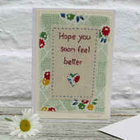 Hand-stitched card, pretty retro fabric and applique heart