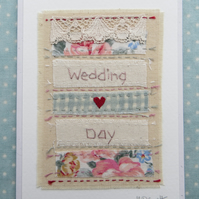 Wedding Day hand-stitched card for two very special people!