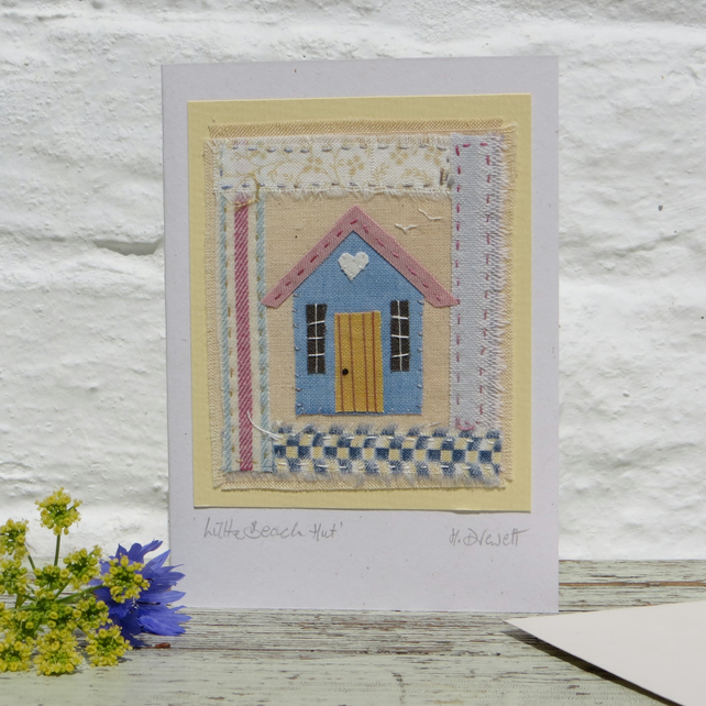 A Little Beach Hut, miniature hand-stitched textile mounted onto greeting card