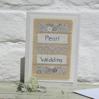 Pearl Anniversary hand-stitched card for two very special people!