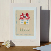 Daisy Cottage hand-stitched miniature on card for any occasion