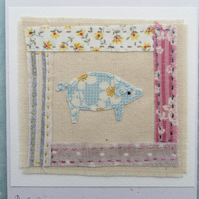 Pretty Pig hand-stitched card for young or old guaranteed to bring a smile!