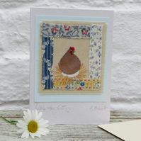 Little Hen Sitting hand-stitched card to make you smile! Beautiful card to keep
