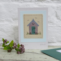 Little Shed hand-stitched card - perfect for a gardener! A card to keep.