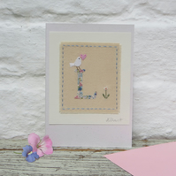 Sweet little letter L card, hand stitched new baby, Christening, 1st birthday ..