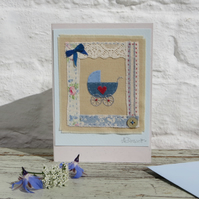 Little Blue Pram hand-stitched baby card, birth or Christening, vintage button