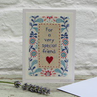 Special Friend card, carefully hand-stitched, very pretty, a card to keep!!